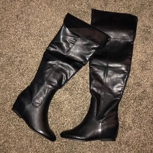 NEW JUSTFAB LLADEN OVER THE KNEE BOOTS BLACK 7